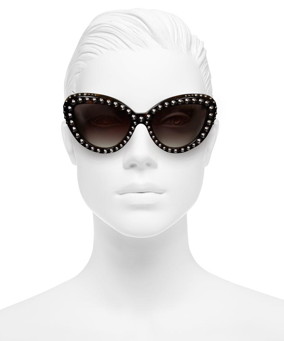 f2a2d566719 Prada Brown Stud Cat Eye Sunglasses in Brown - Lyst