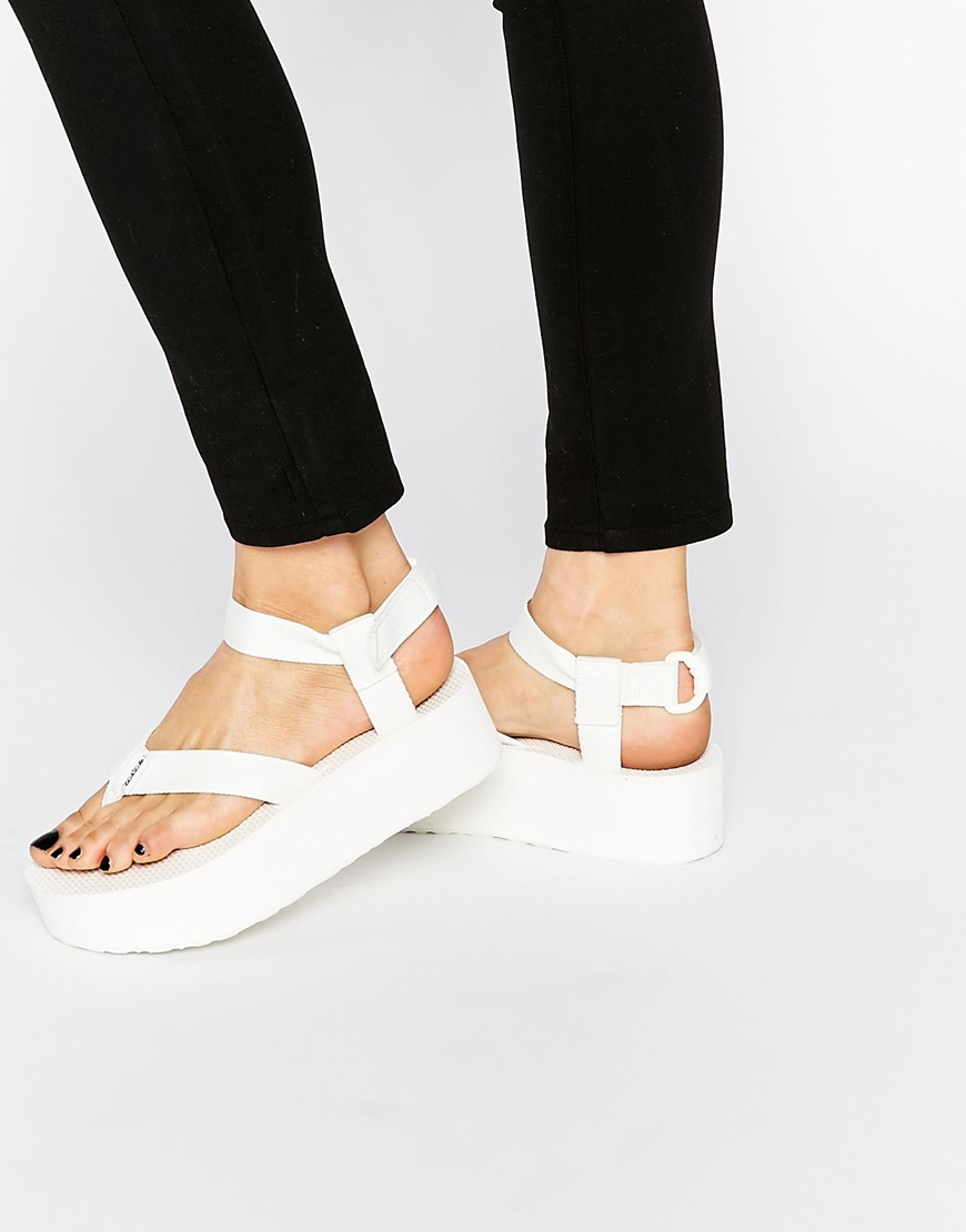 Teva Bright White Flatform Universal Sandals Lyst
