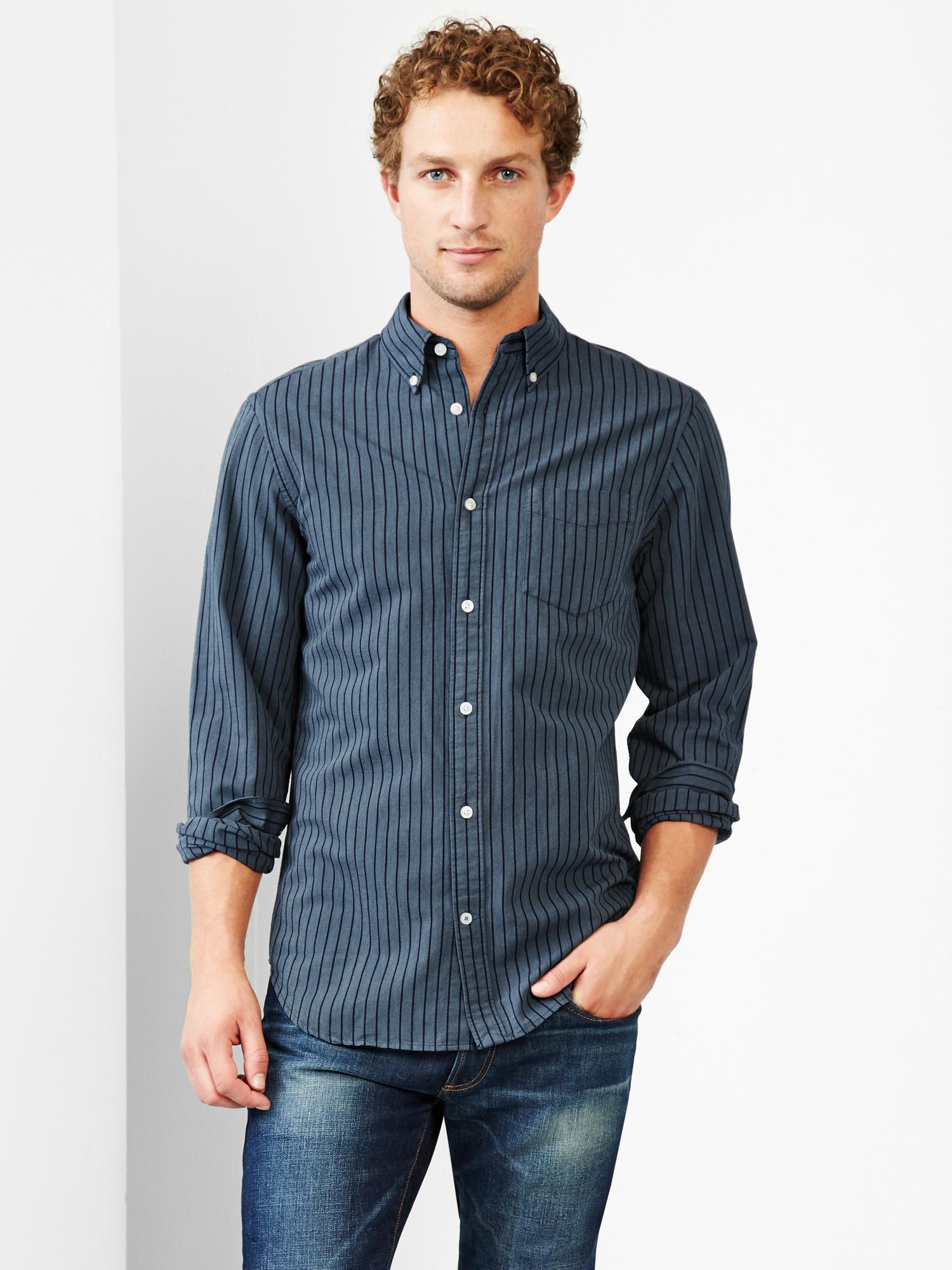 Gap stripe oxford shirt in blue for men navy heather lyst for Mens blue oxford shirt