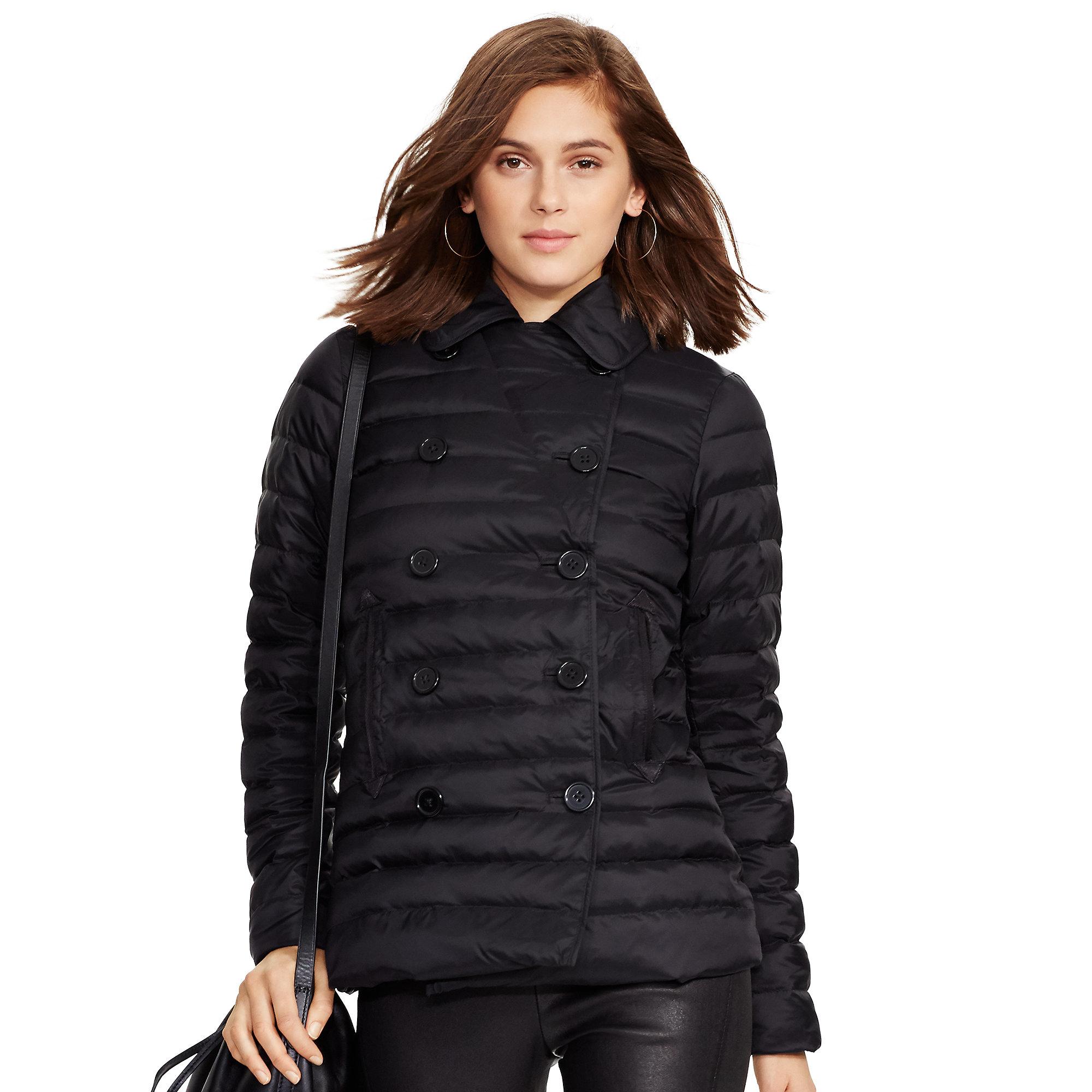 Lyst - Polo ralph lauren Quilted Down Pea Coat in Black : quilted pea coat - Adamdwight.com