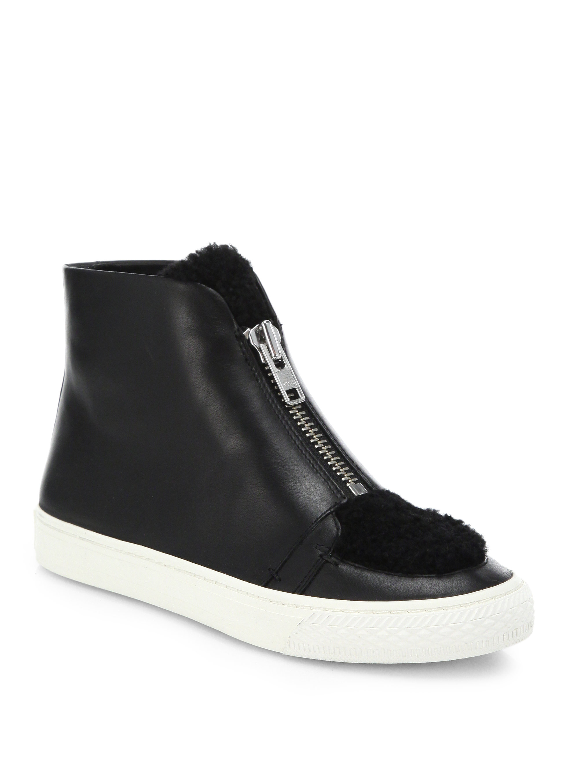 Loeffler Randall Leather High-Top Sneakers shop for online KOnLfxeHgy