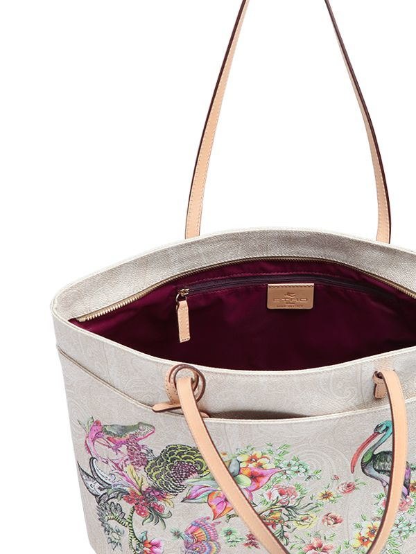 Etro Flower Printed Coated Canvas Tote in Beige (Natural)