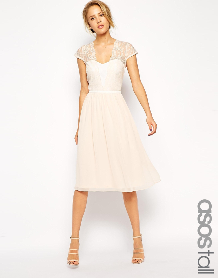 e750f368bea ASOS Tall Midi Skater Dress With Scallop Lace And Chiffon in Natural ...