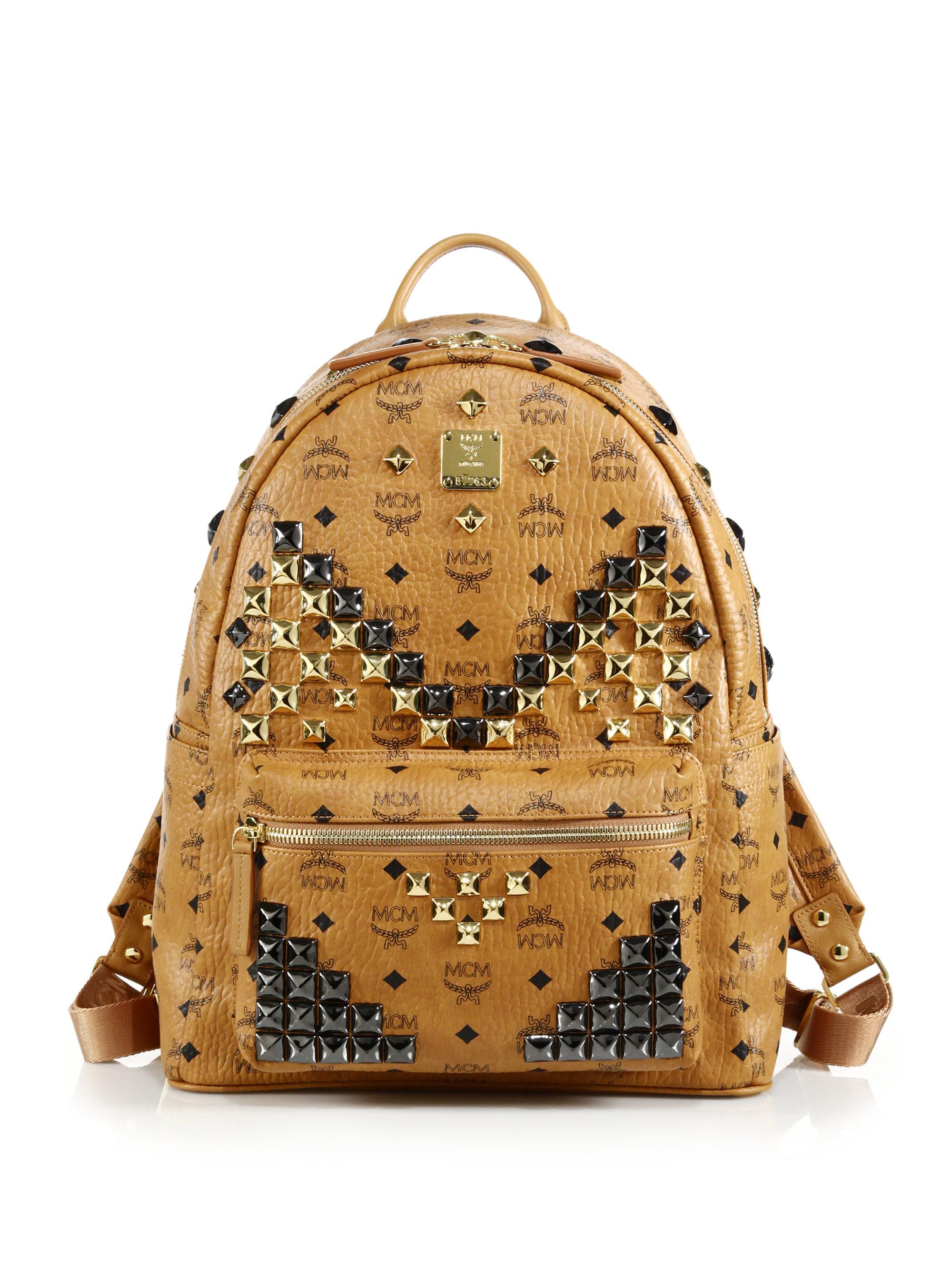 """Mcm Stark """"m-stud"""" Backpack in Brown (cognac)"""