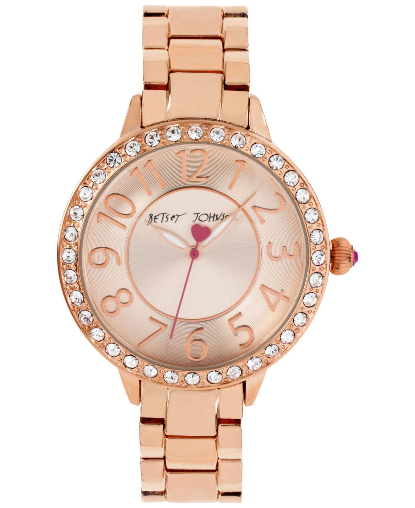 f7f9990084f7 Lyst - Betsey Johnson Women s Rose Gold-tone Bracelet Watch 42mm ...