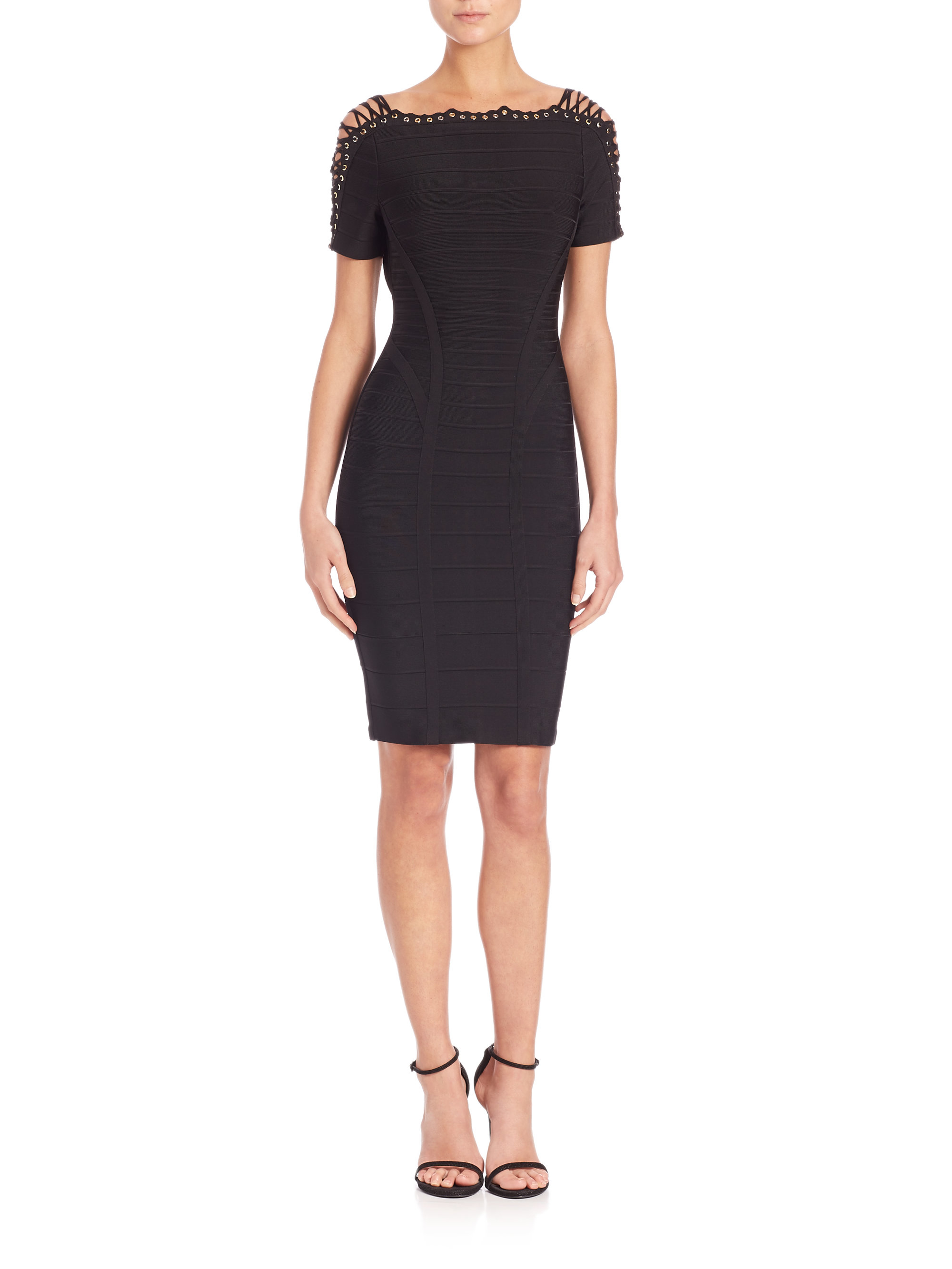 Hervé léger Lace-up Bandage Dress in Black (PACIFIC BLUE ...