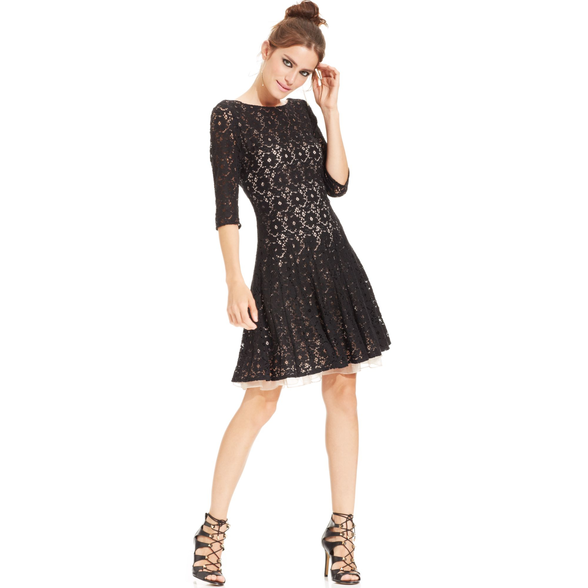 Betsey Johnson Contrastlace Pleated Dress In Black Lyst