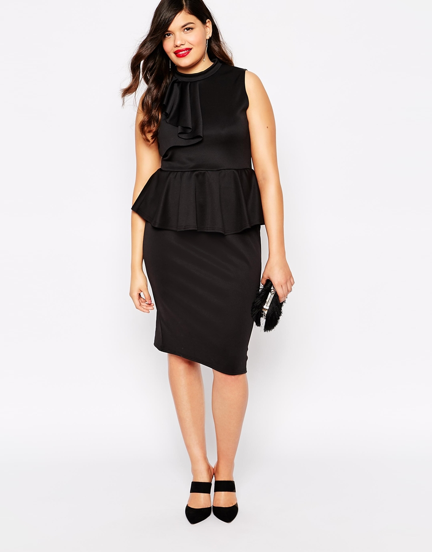 Plus Size Peplum Dress With Ruffle Detail