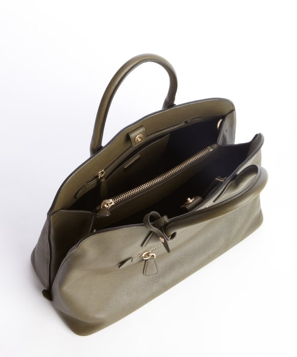 9af5c3540ab7 Prada Olive Green Saffiano Leather Zip Top Handle Bag in Green - Lyst