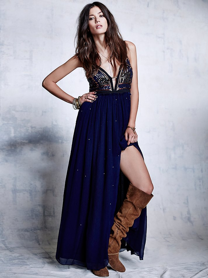 Free people Womens Golden Chalice Maxi in Blue | Lyst