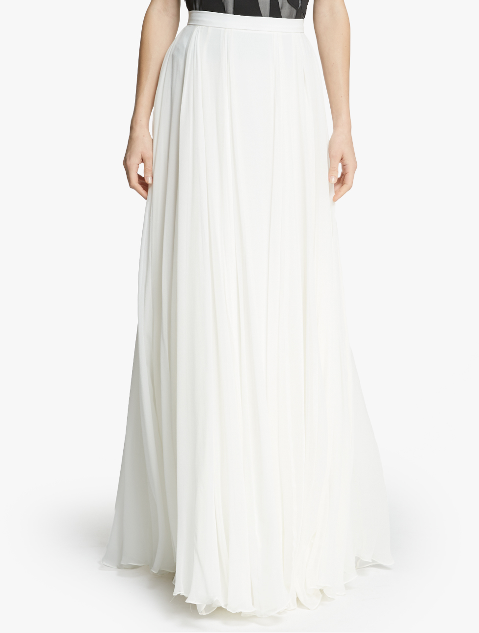 flowy georgette maxi skirt in white lyst