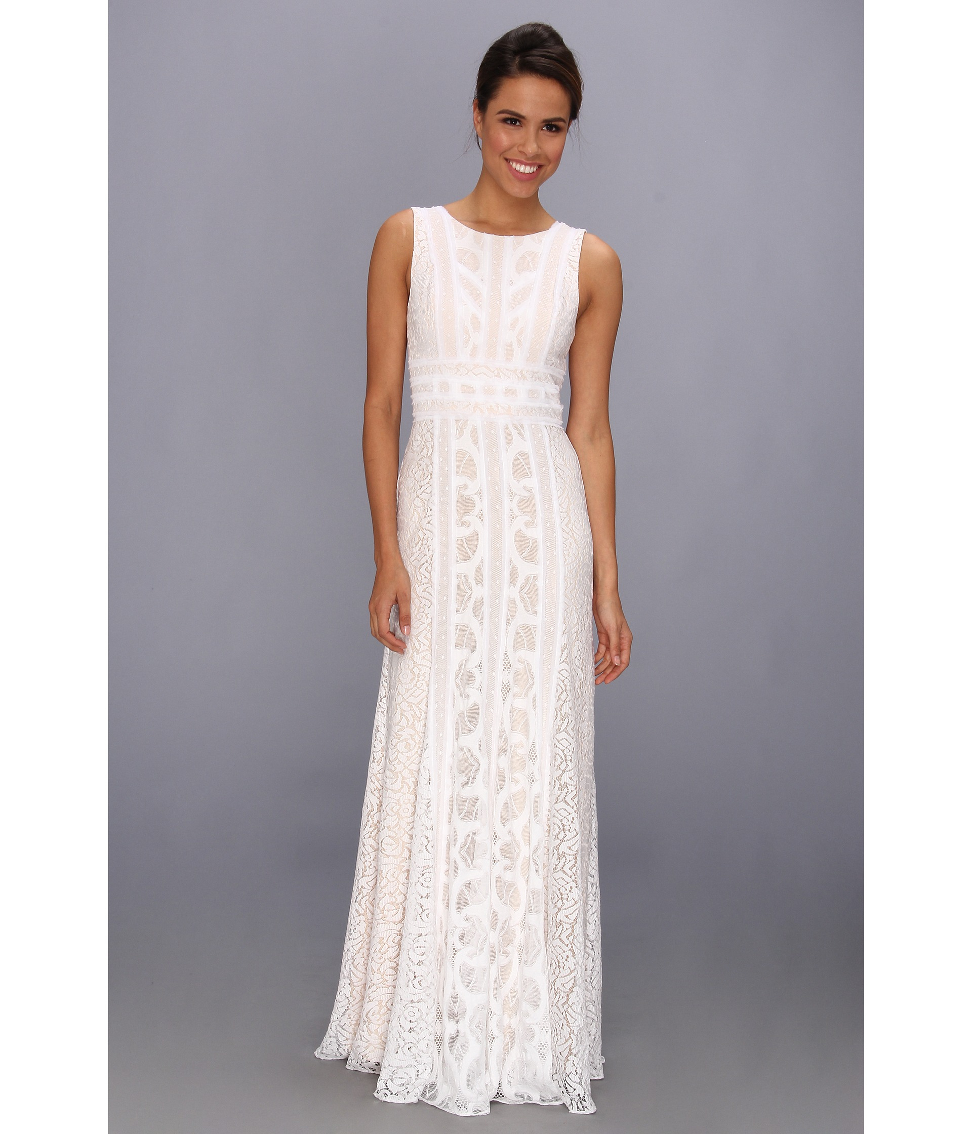 Lyst - Bcbgmaxazria Kelley Woven Lace Evening Gown in White