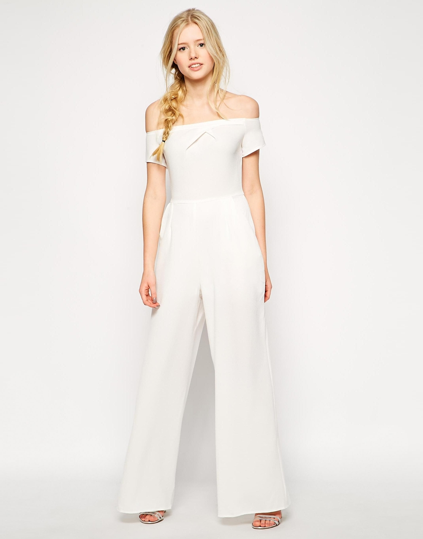 ac838f5e0a Lyst - Love Off Shoulder Jumpsuit in White