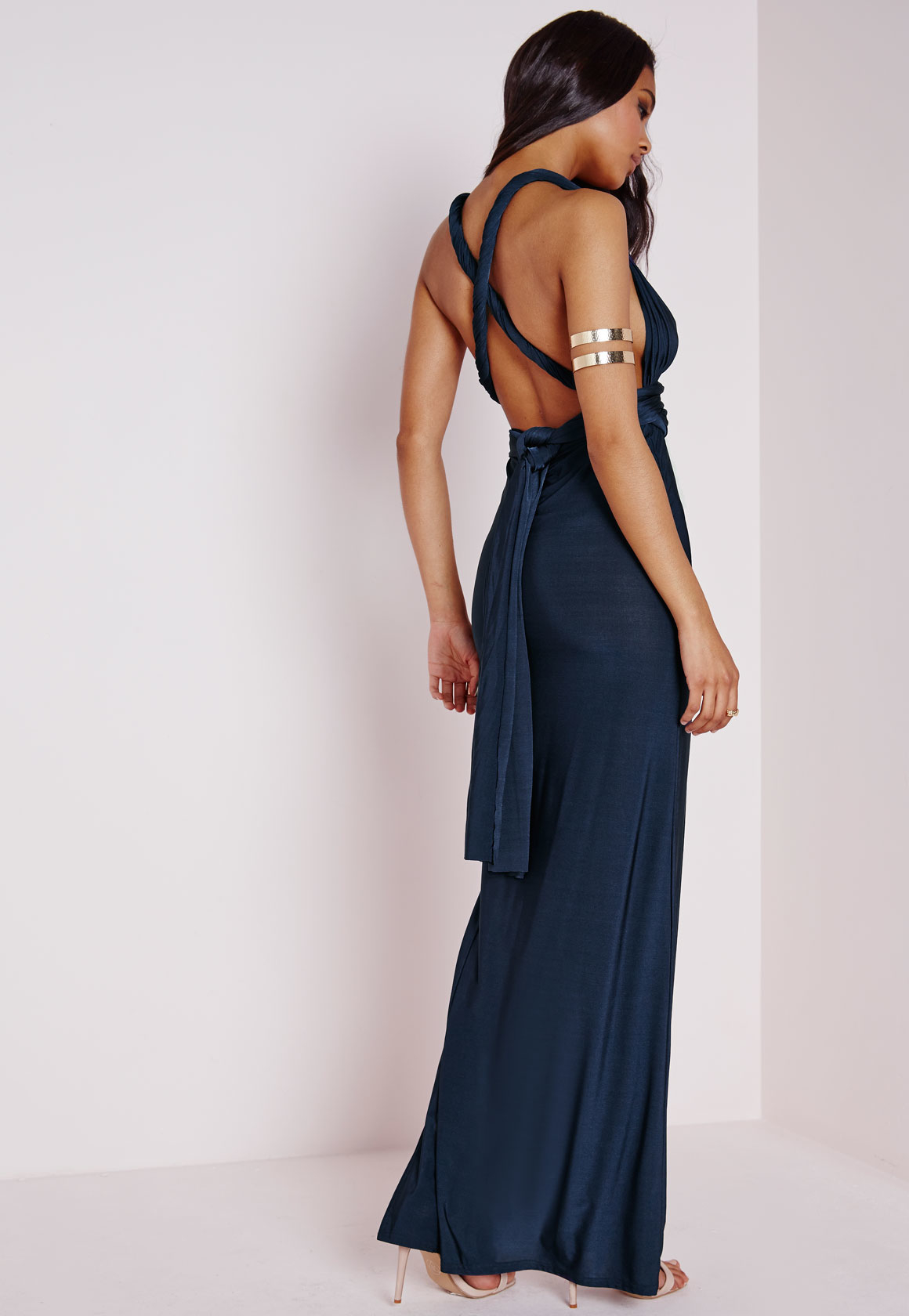 1b3697ebdae Lyst - Missguided Do It Any Way Multiway Slinky Maxi Dress Navy in Blue