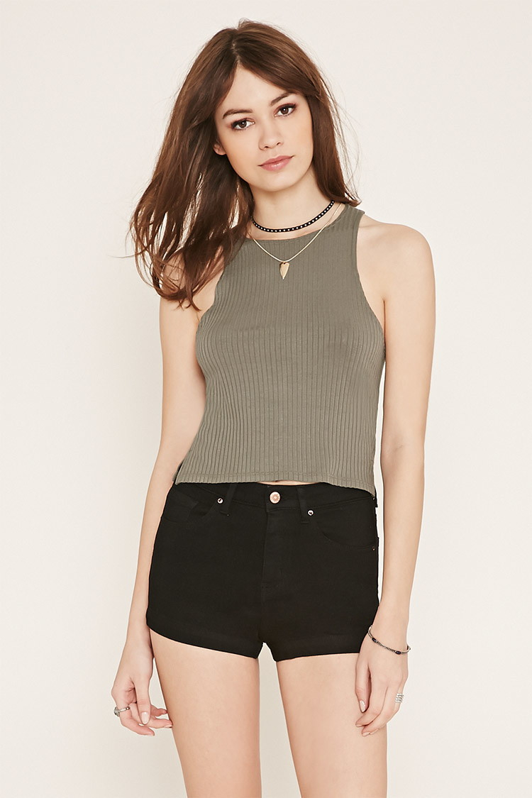 forever 21 denim shorts in natural lyst