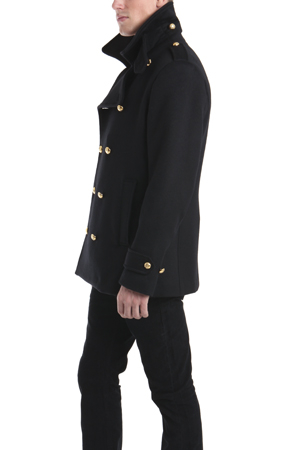 Simon spurr Peacoat with Gold Military Buttons in Black for Men | Lyst