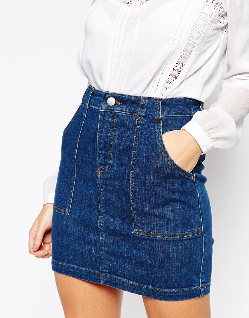 warehouse denim mini skirt in blue lyst