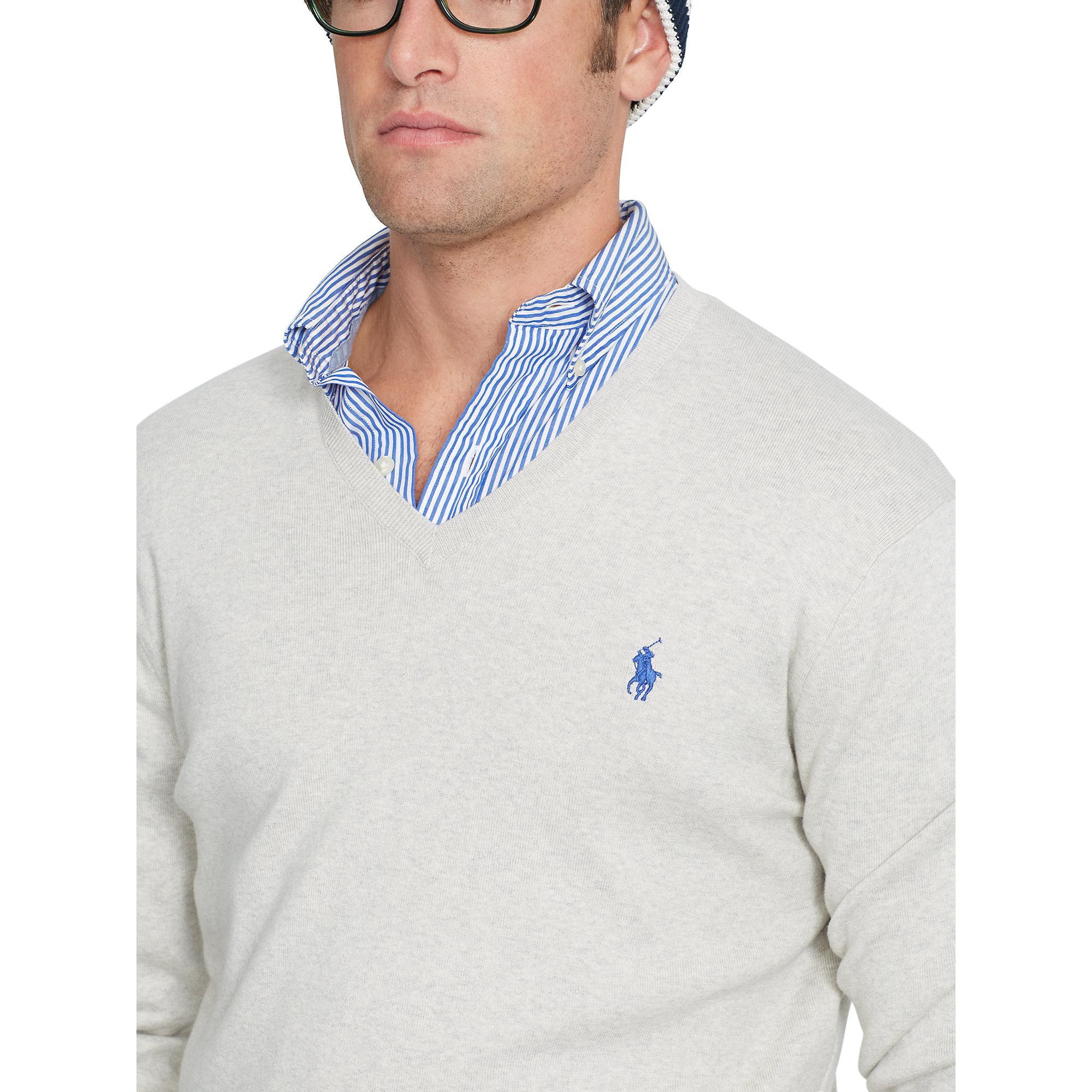 For Gray Lauren V Sweater Polo Neck Ralph Men Pima Cotton uOPXZTki