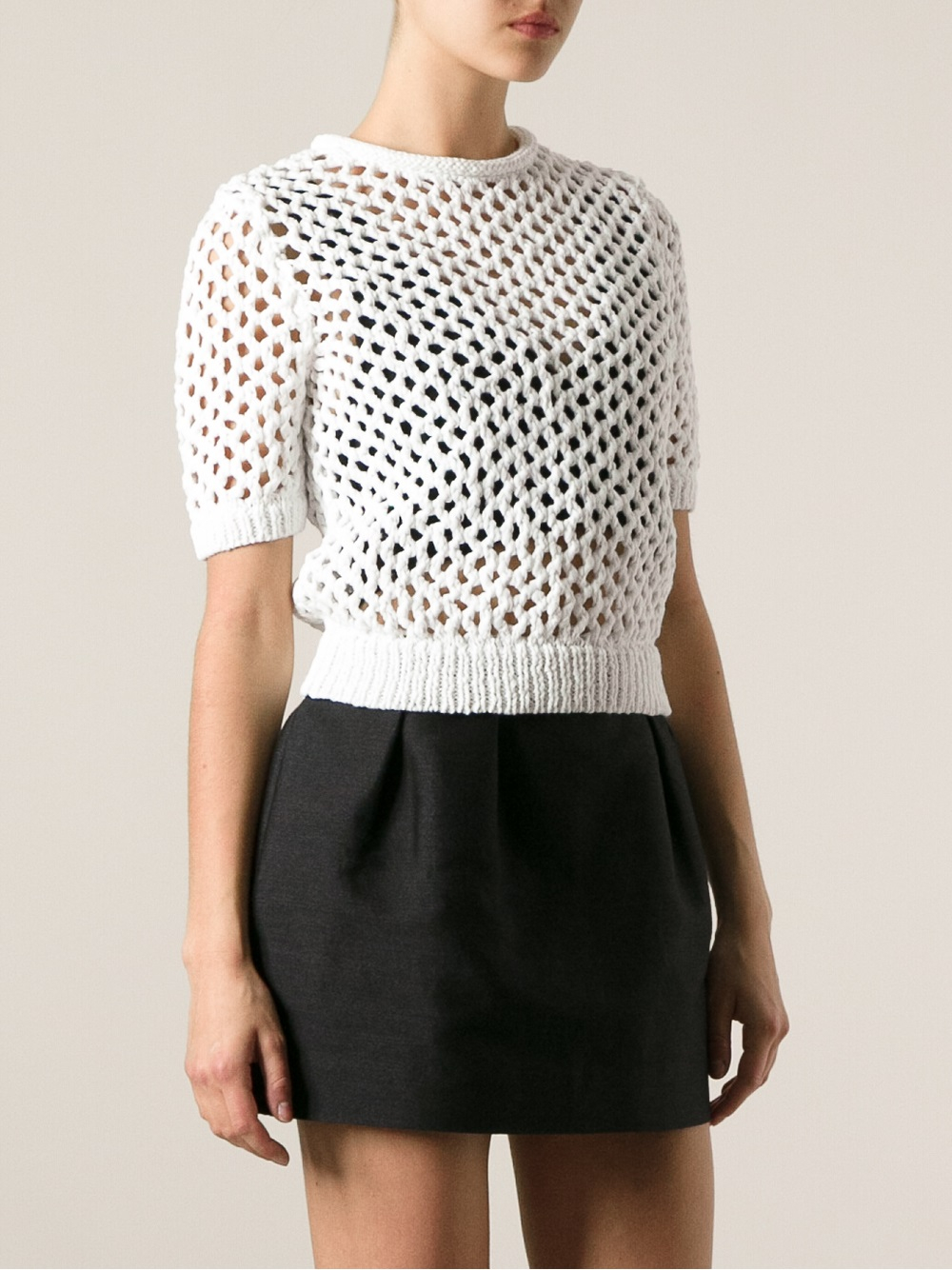Alexander wang Short Sleeve Open Knit Sweater in White | Lyst