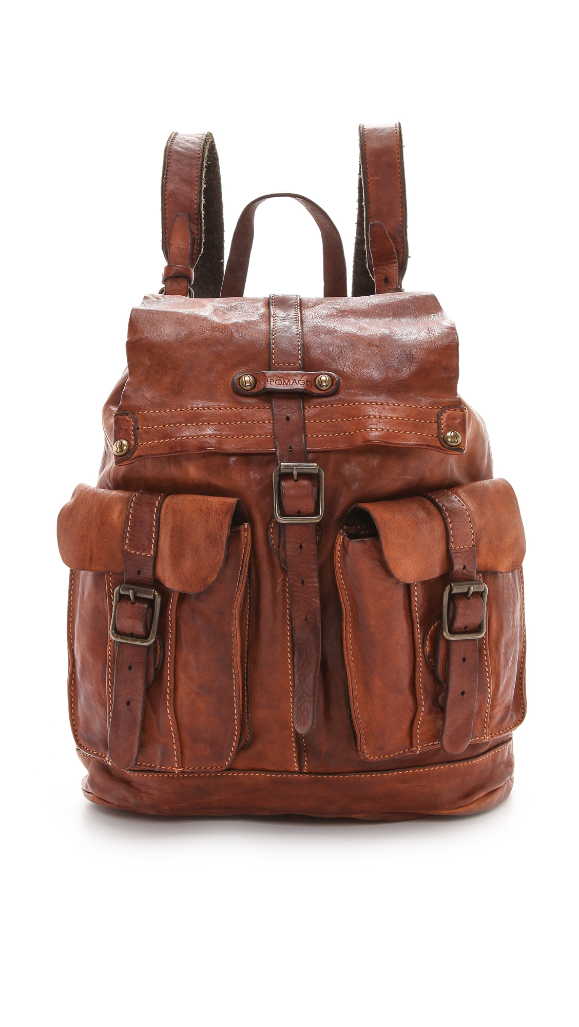 Campomaggi Washed Leather Backpack - Cognac in Brown