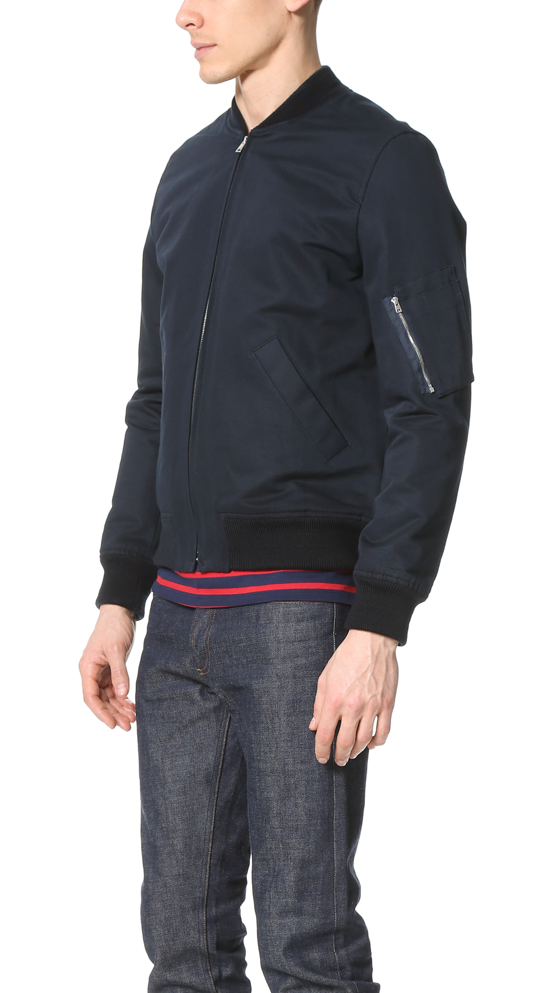 A.P.C. Cotton Ma-1 Bomber Jacket in Dark Navy (Blue) for Men