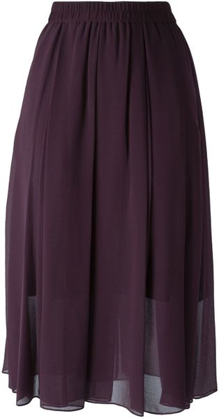 by malene birger pleated sheer skirt in pink pink
