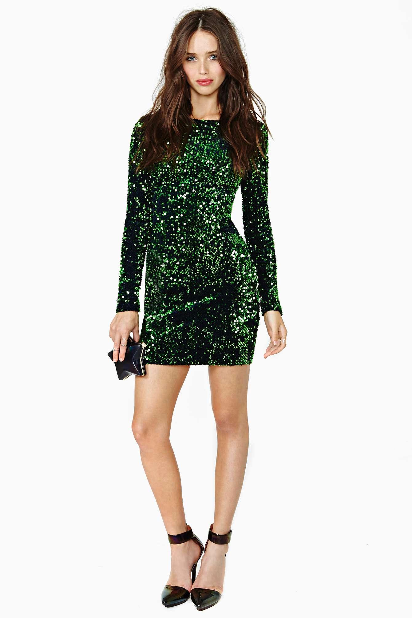 Lyst Nasty Gal Motel Gabby Sequin Dress In Green