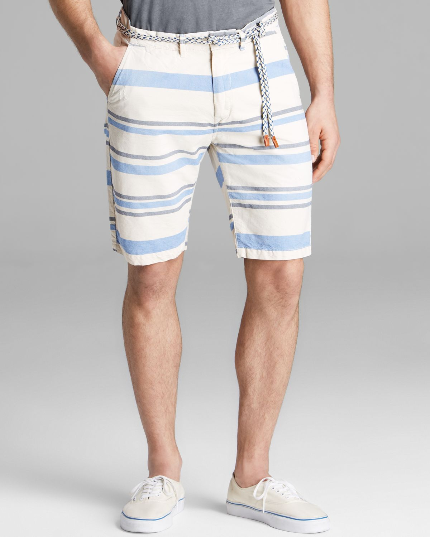 Lyst Scotch Amp Soda Striped Chino Shorts With Rope Belt