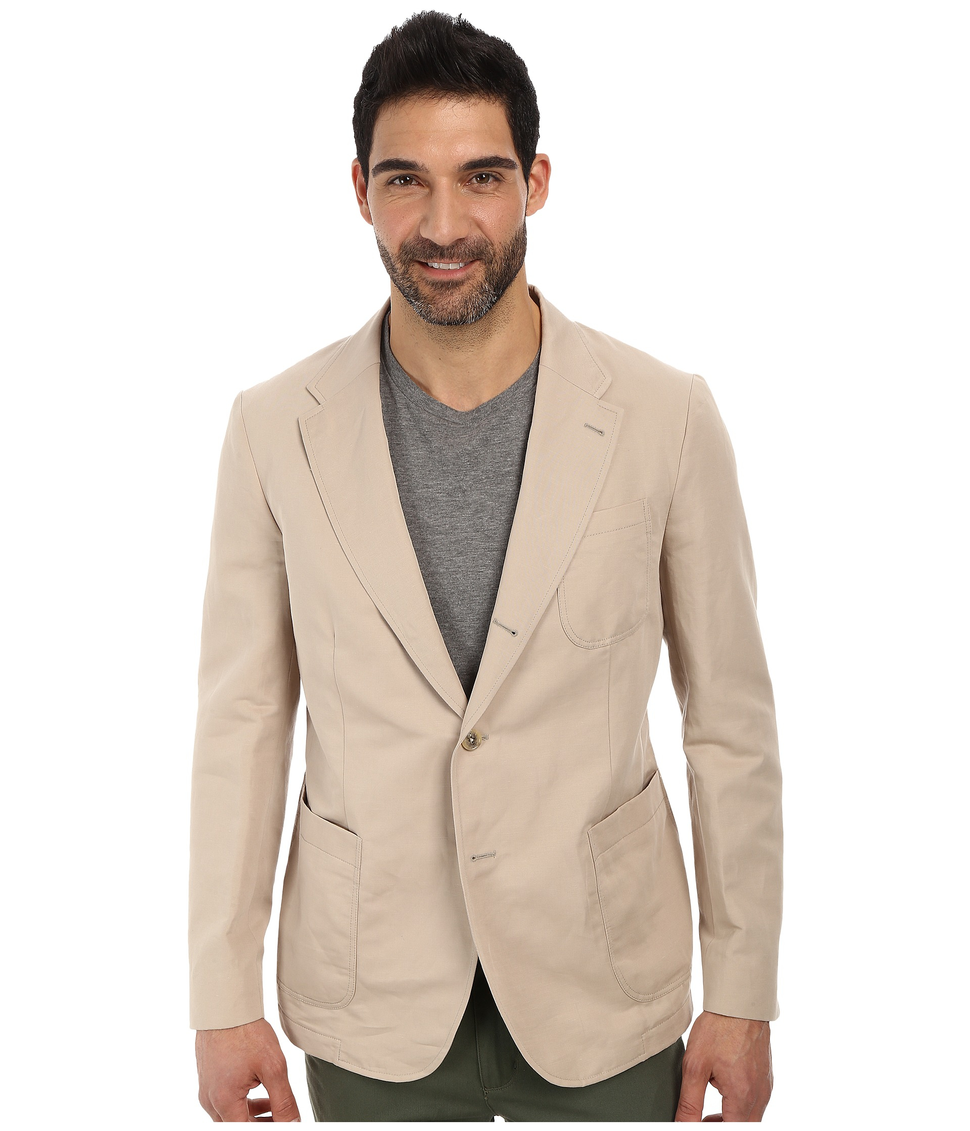 Lacoste Cotton Linen Blazer in Natural for Men | Lyst