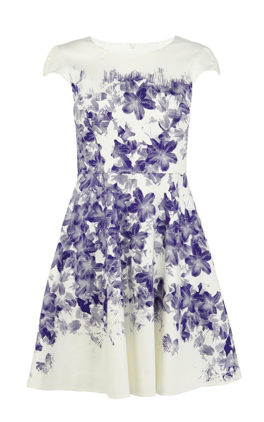Lyst Karen Millen Floral Cotton Blend Dress In Blue