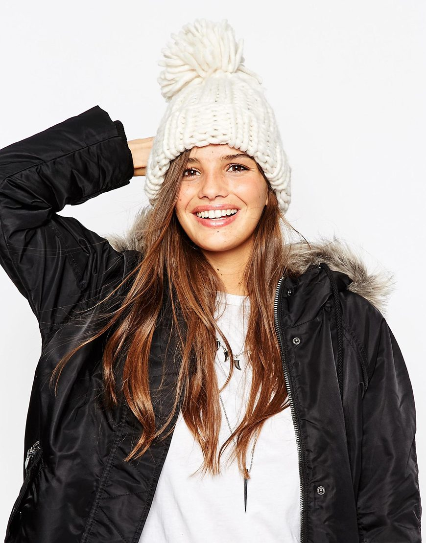 Lyst - ASOS Extra Chunky Beanie With Extra Large Pom in White 33f14a8fb9b