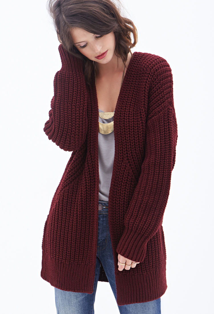 7ad5bcc82b Forever 21 Contemporary Open-front Cardigan in Purple - Lyst
