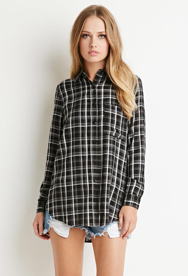 forever 21 tartan plaid pocket shirt in black black grey lyst. Black Bedroom Furniture Sets. Home Design Ideas
