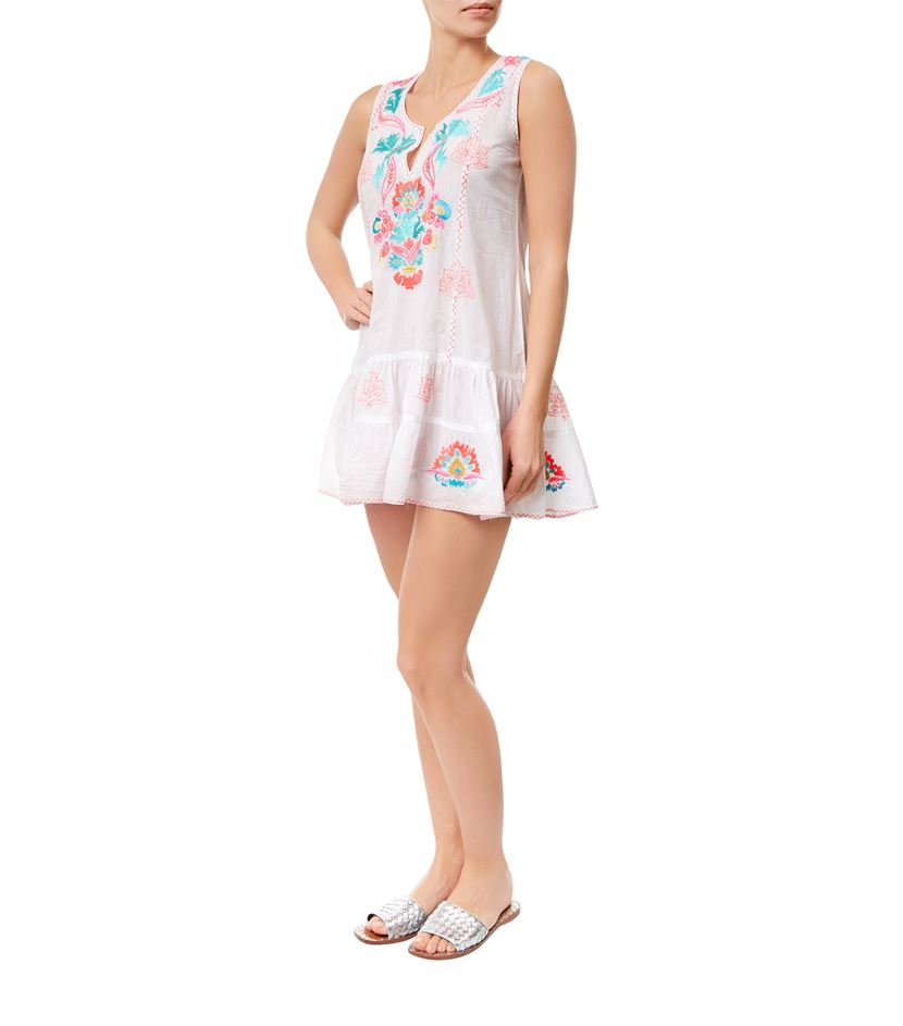 Juliet dunn sleeveless mexican embroidered tunic dress in