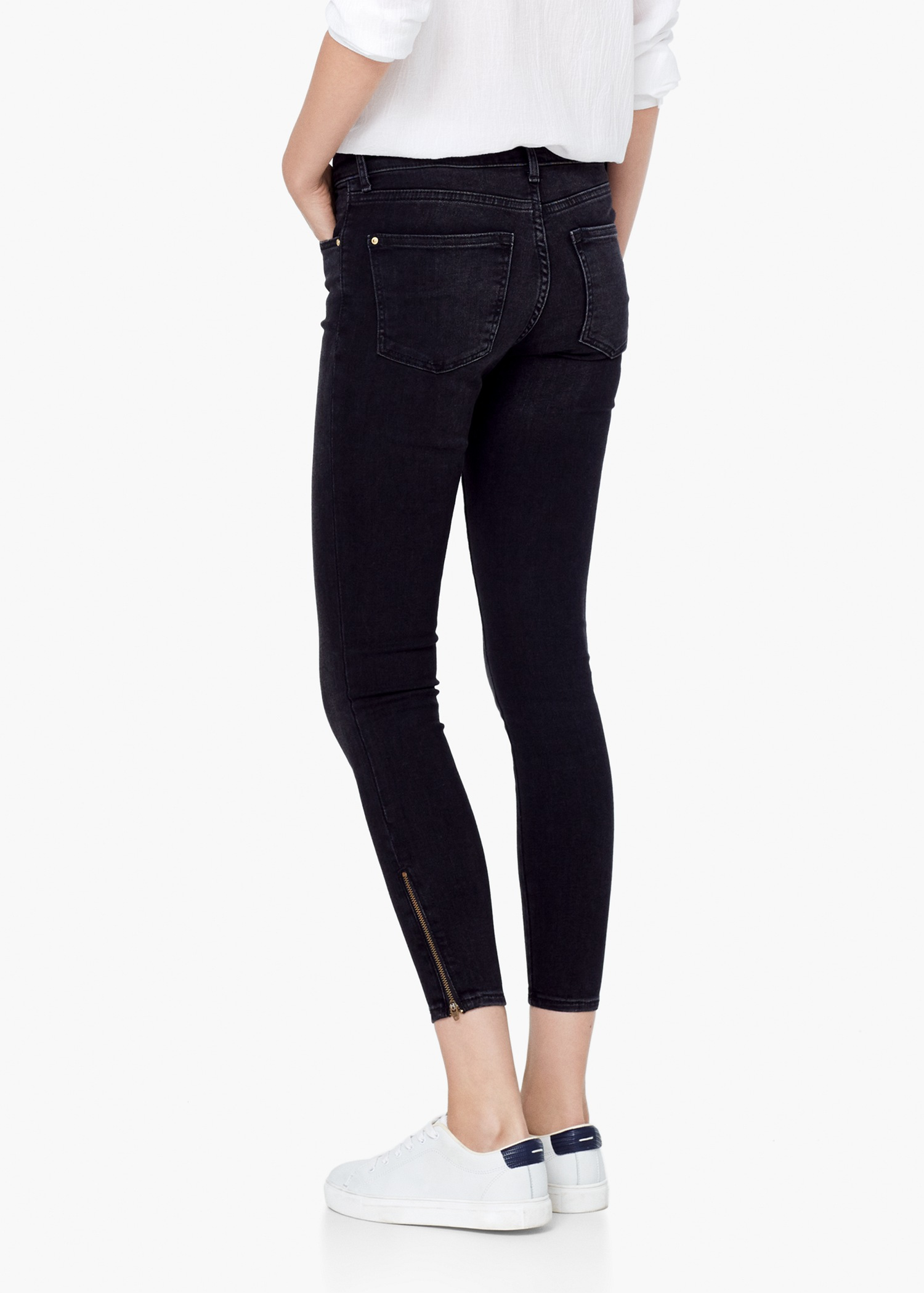 Mango Skinny Cropped Tattoo Jeans in Black | Lyst