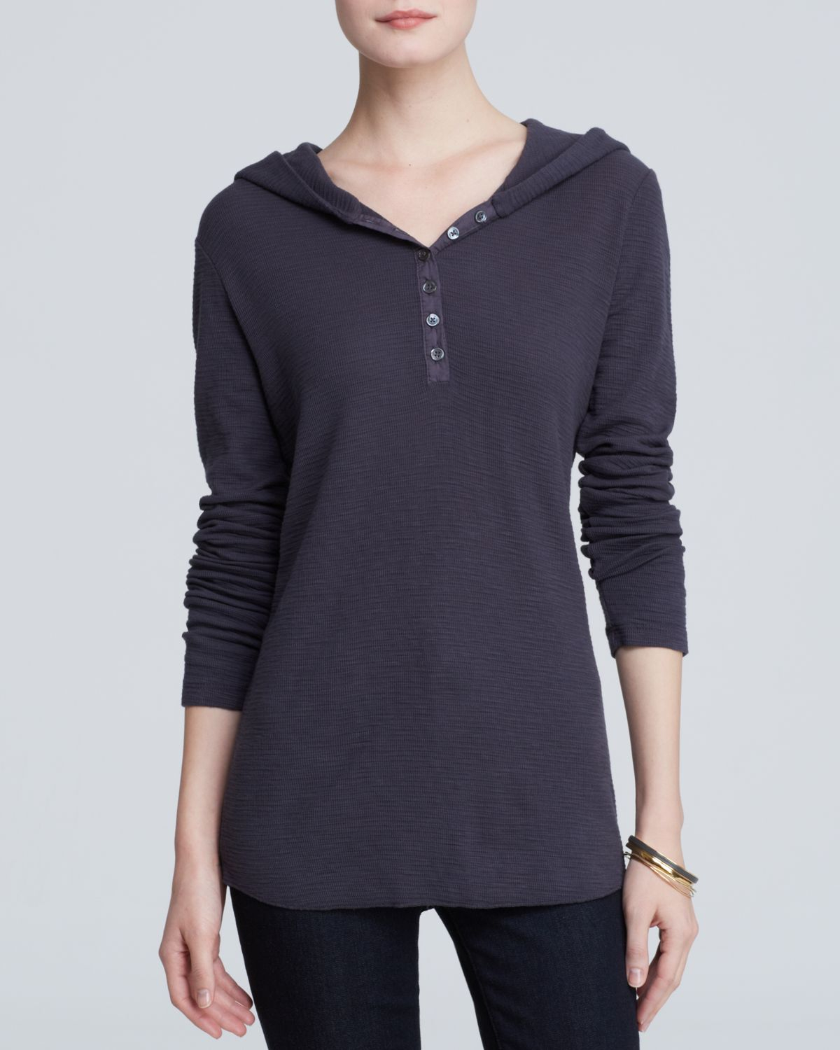 James perse hoodie thermal henley in blue lyst for James perse henley shirt