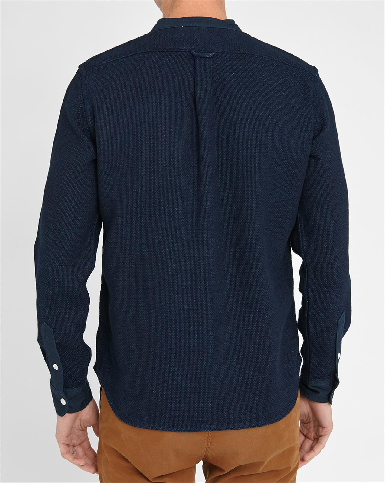 Edwin indigo grandad collar shirt in blue for men lyst Mens grandad collar shirt