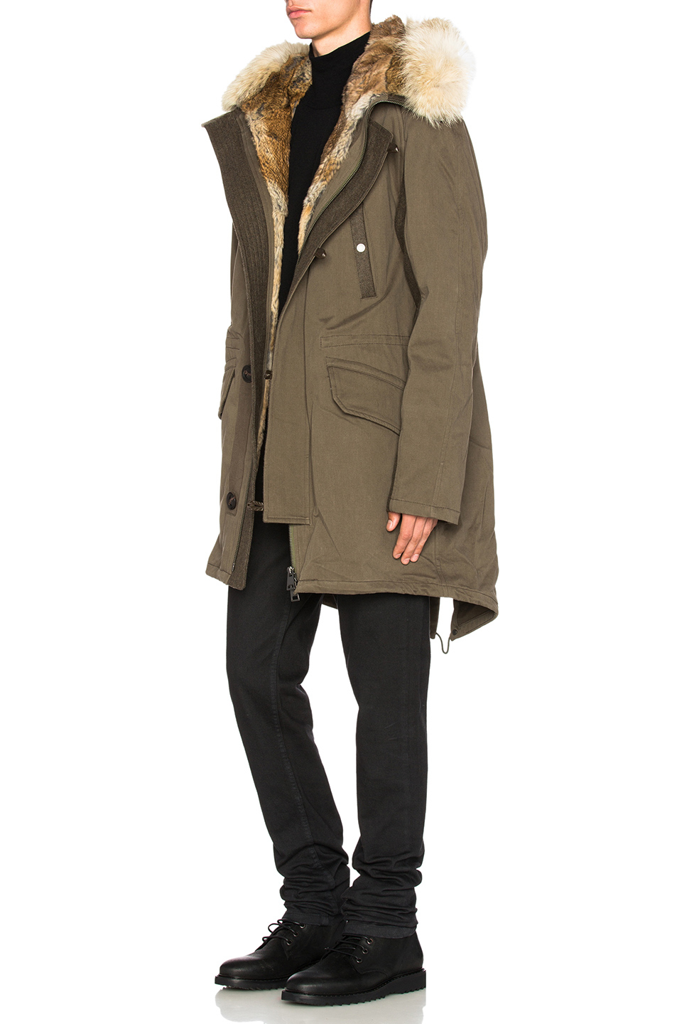 Yves Salomon Men's hooded black parka with coyote and rabbit