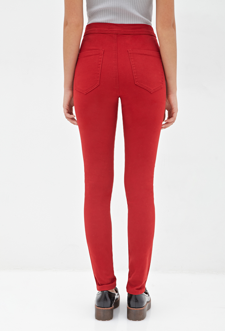 Forever 21 High-waisted Skinny Jeans in Red | Lyst