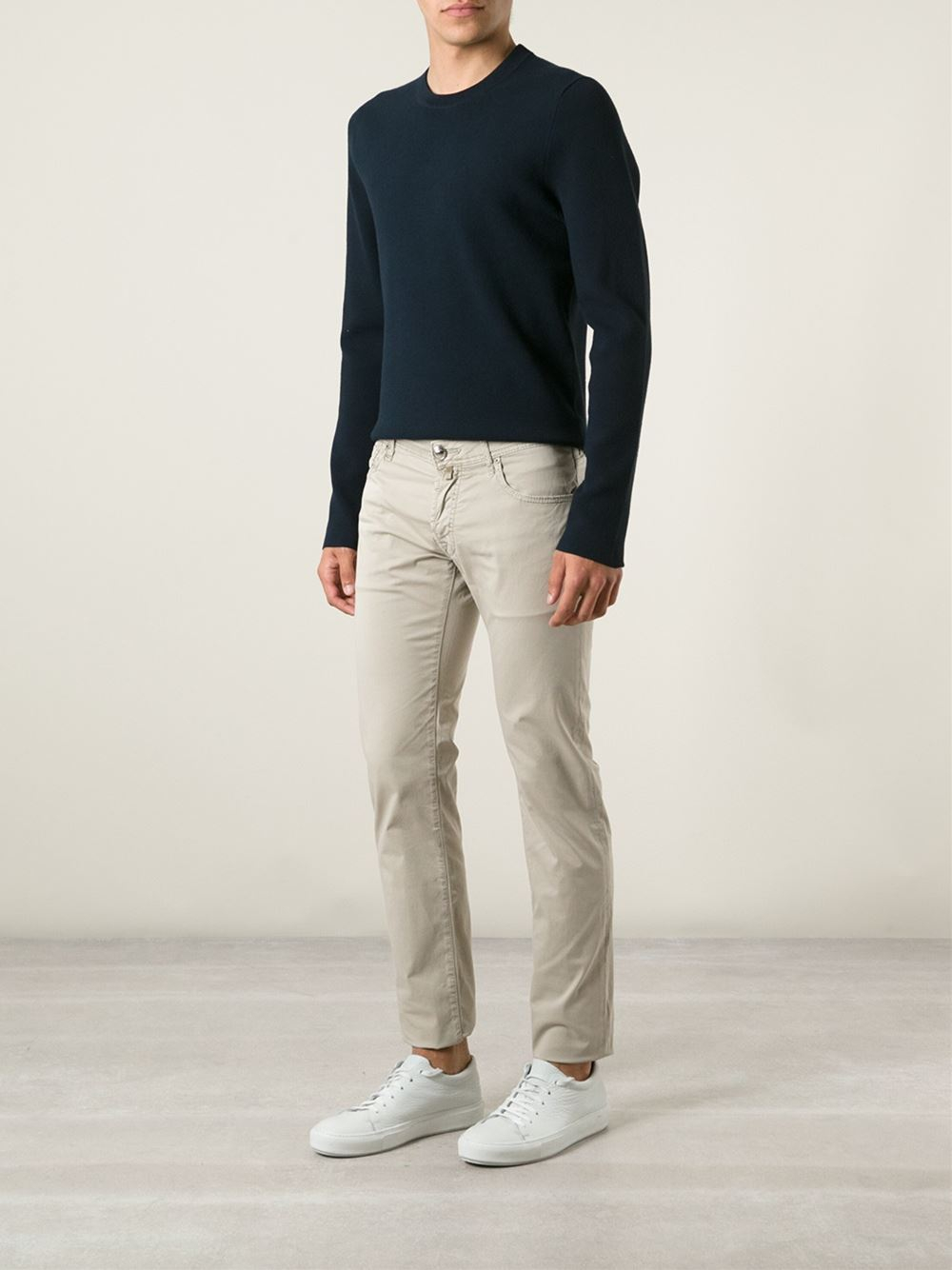 jacob cohen chino trousers in beige for men nude neutrals lyst. Black Bedroom Furniture Sets. Home Design Ideas