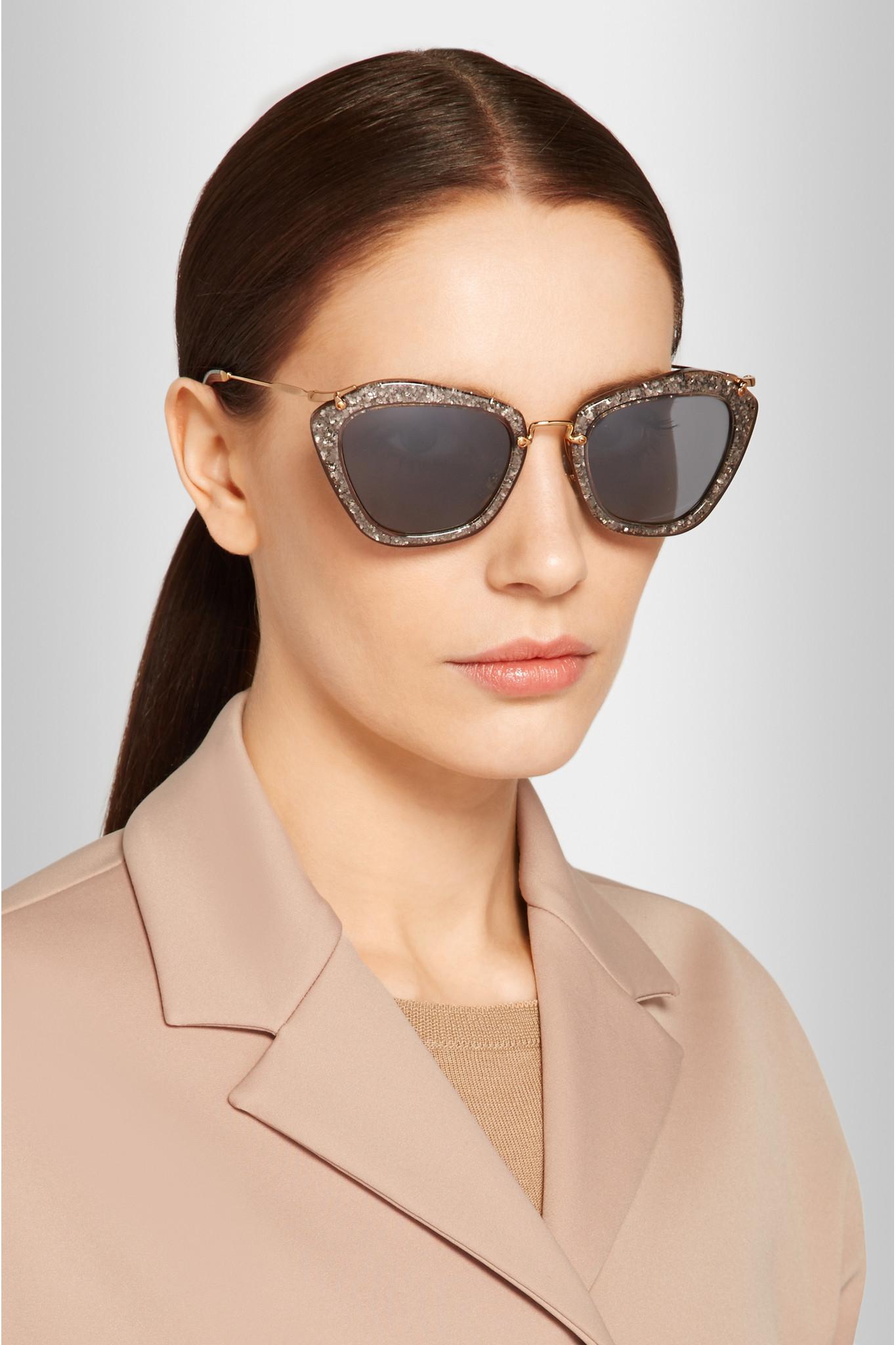 56725db47568 Miu Miu Cat-eye Glittered Acetate And Metal Sunglasses in Metallic ...