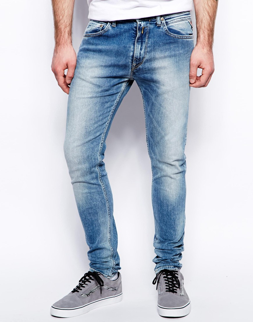 78a20e937e140 Lyst - Replay Jeans Jondrill Skinny Fit Stretch Light Wash in Blue ...