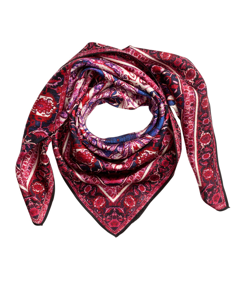 h m patterned silk scarf in pink lyst