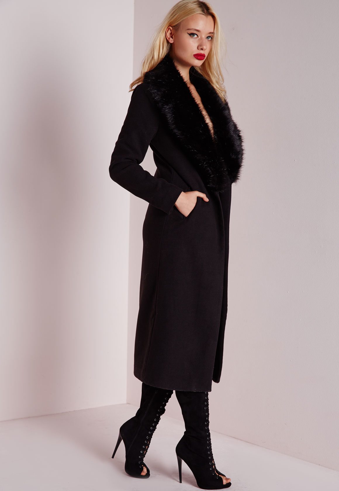 Lyst Missguided Longline Faux Wool Coat With Faux Fur
