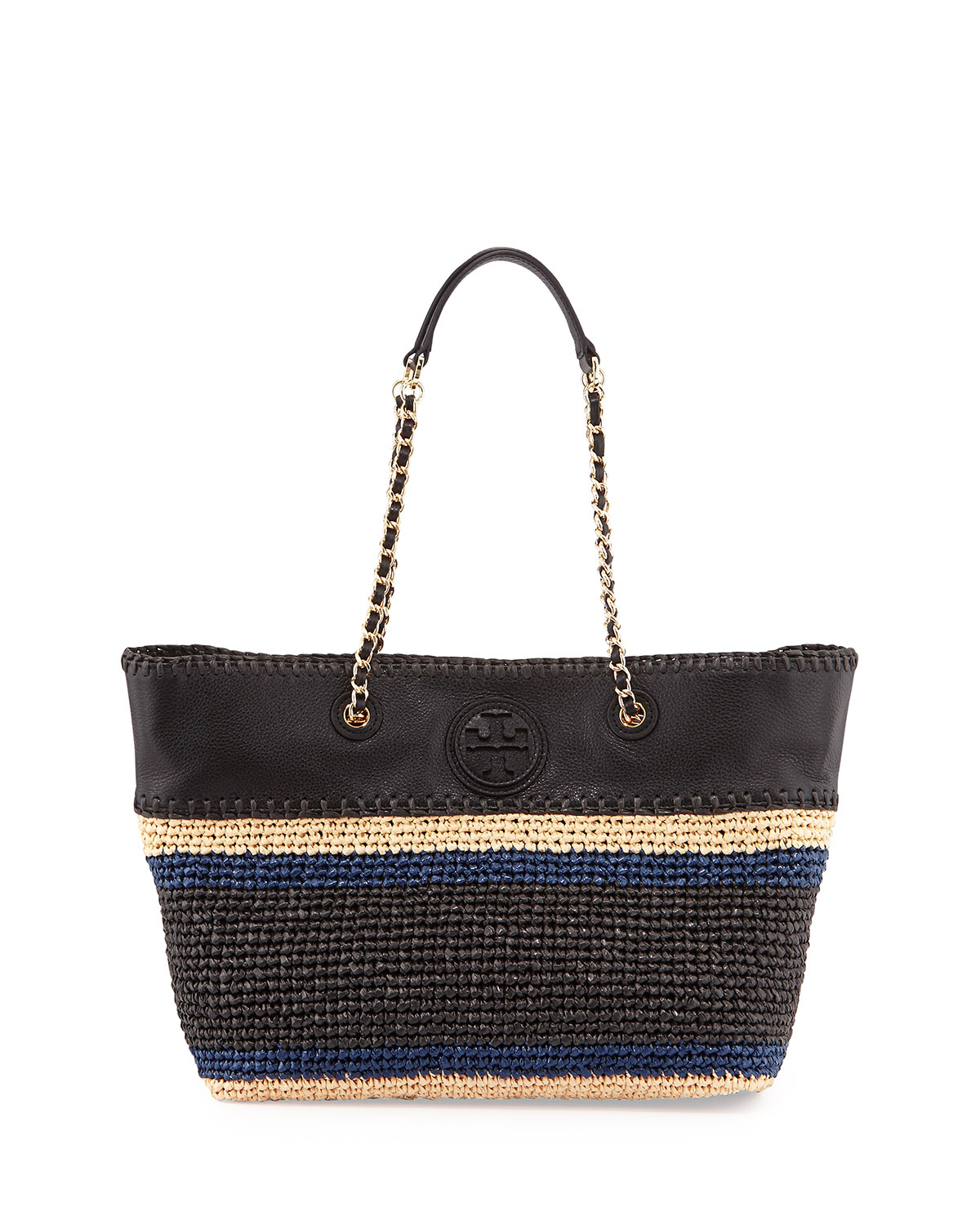 burch marion striped straw tote bag in beige straw