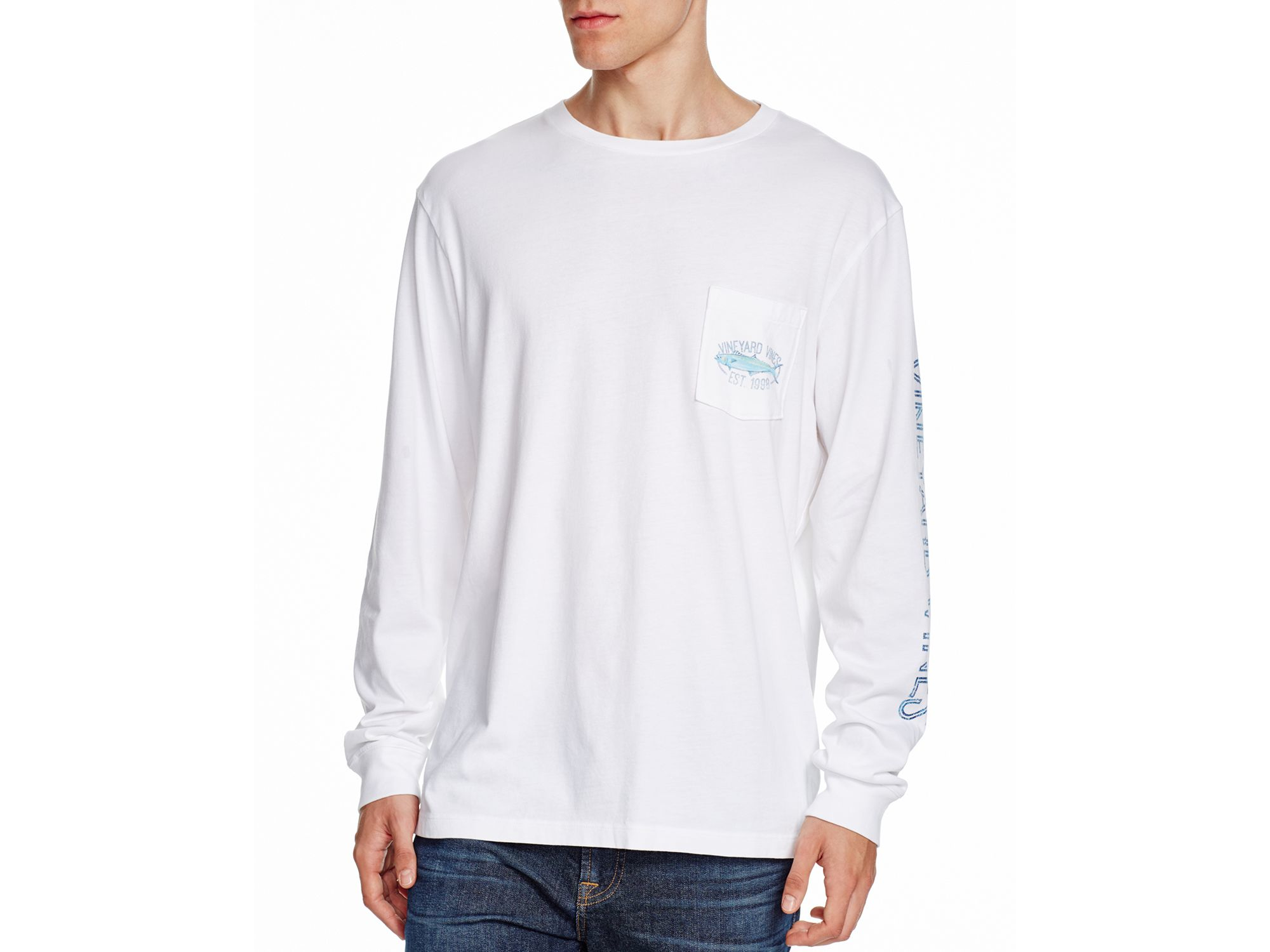Vineyard vines clean catch pocket tee in white for men lyst for Vineyard vines fishing shirt