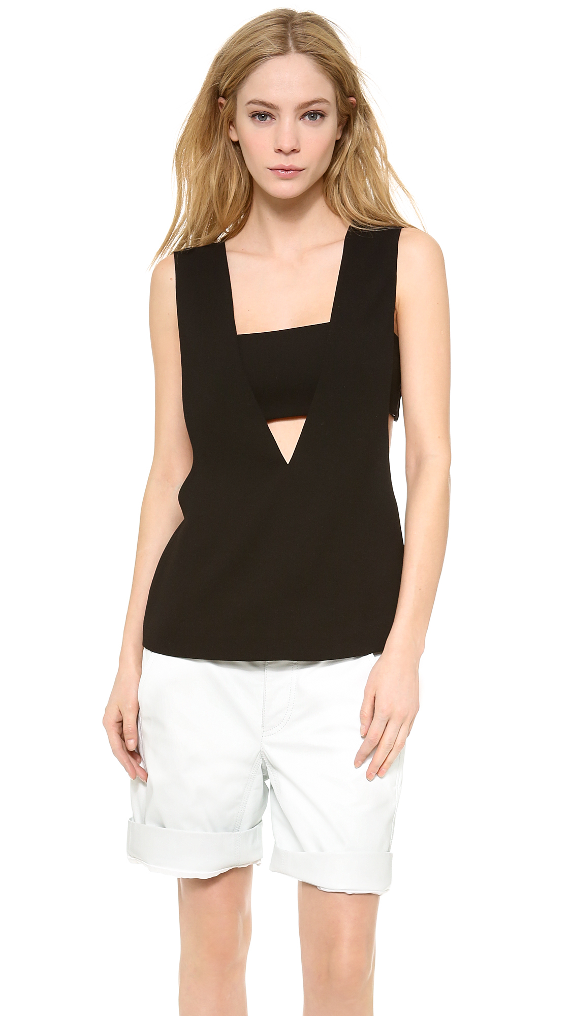 lyst t by alexander wang low v tank with bandeau in black. Black Bedroom Furniture Sets. Home Design Ideas