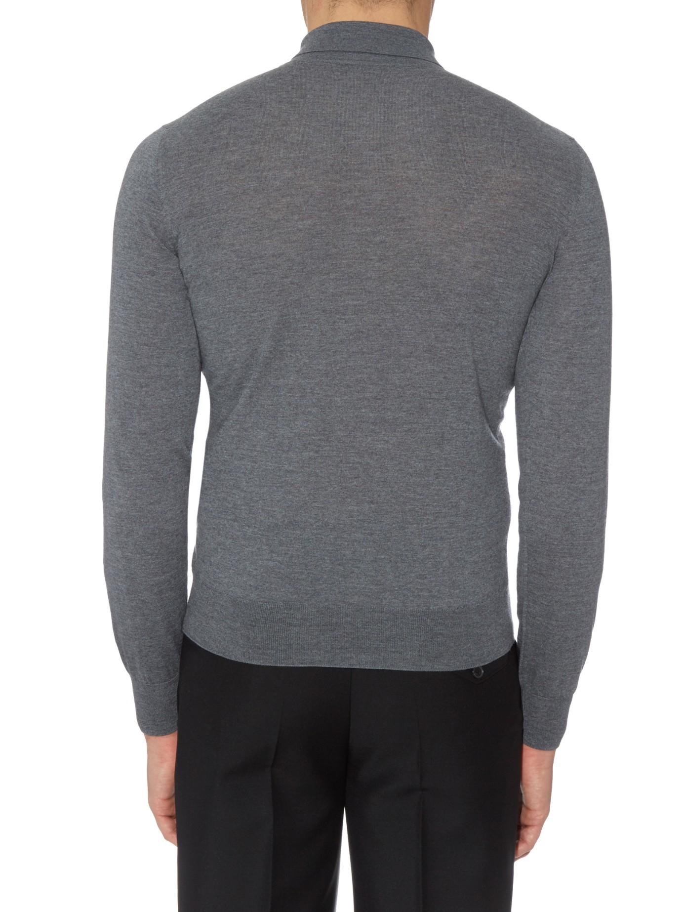 Bottega veneta long sleeved merino wool polo shirt in gray for Long sleeve wool polo shirts
