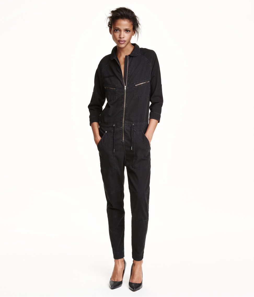 h m denim jumpsuit in black lyst. Black Bedroom Furniture Sets. Home Design Ideas