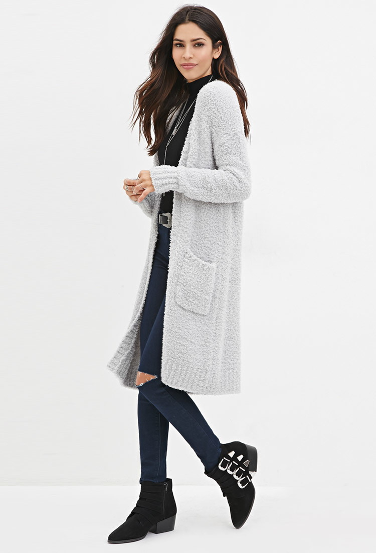 Forever 21 Open-front Plush Longline Cardigan in Gray | Lyst